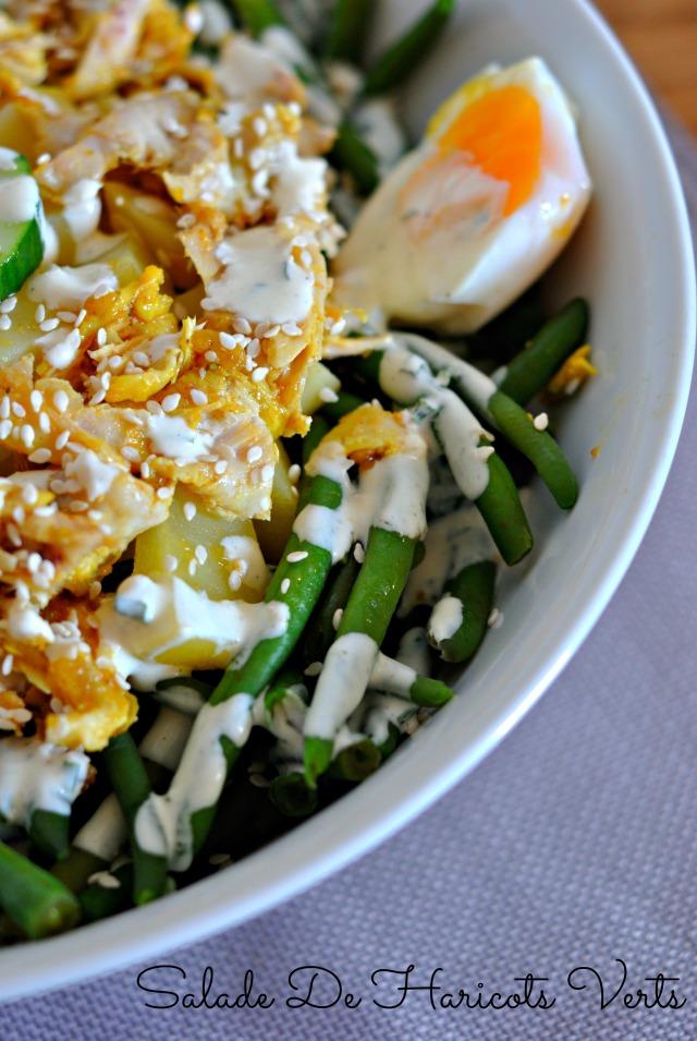 Salade de Haricots Verts,Pomme de terre,Oeufs et reste de Poulet