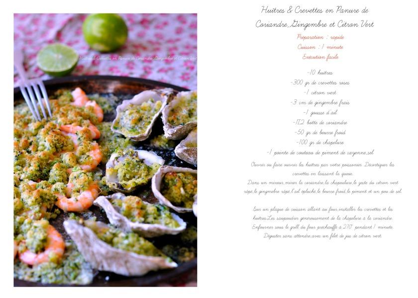 Huîtres & Crevettes en Panure de Coriandre,Gingembre et Citron Vert recette