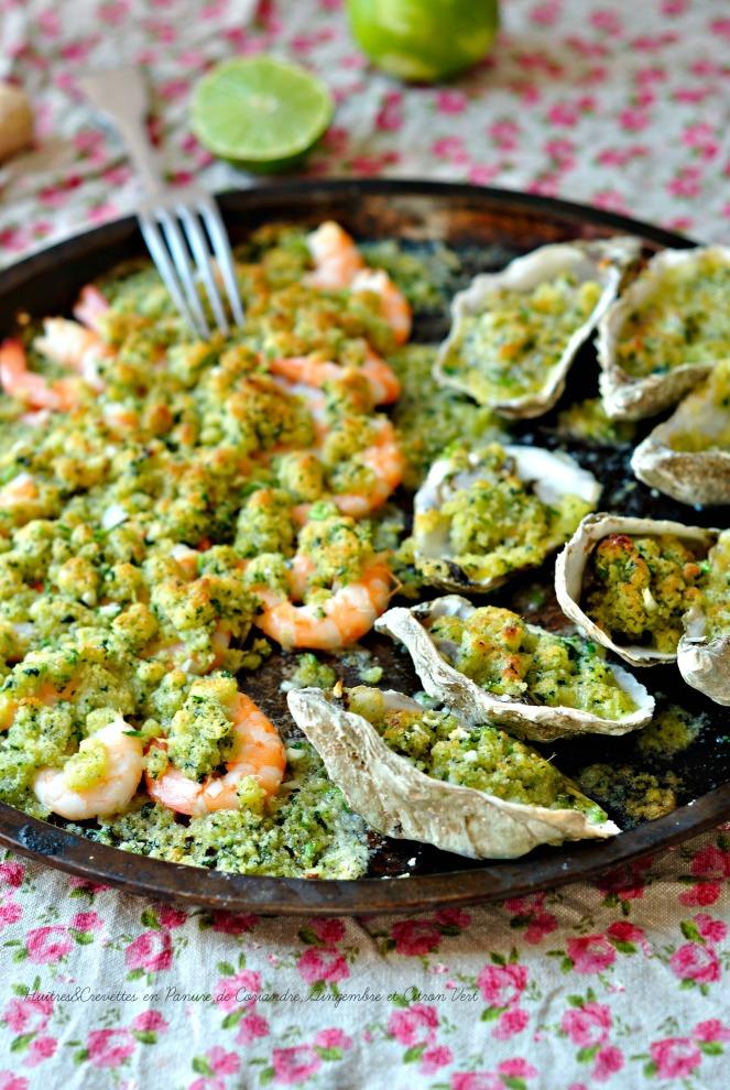 Huîtres & Crevettes en Panure de Coriandre,Gingembre et Citron Vert1