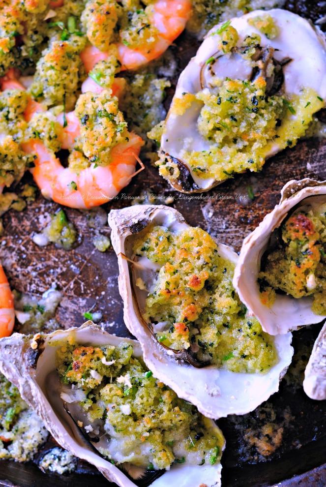 Huîtres & Crevettes en Panure de Coriandre,Gingembre et Citron Vert2