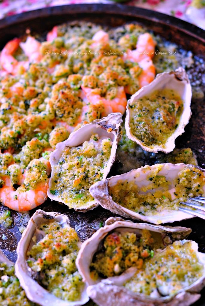 Huîtres & Crevettes en Panure de Coriandre,Gingembre et Citron Vert4