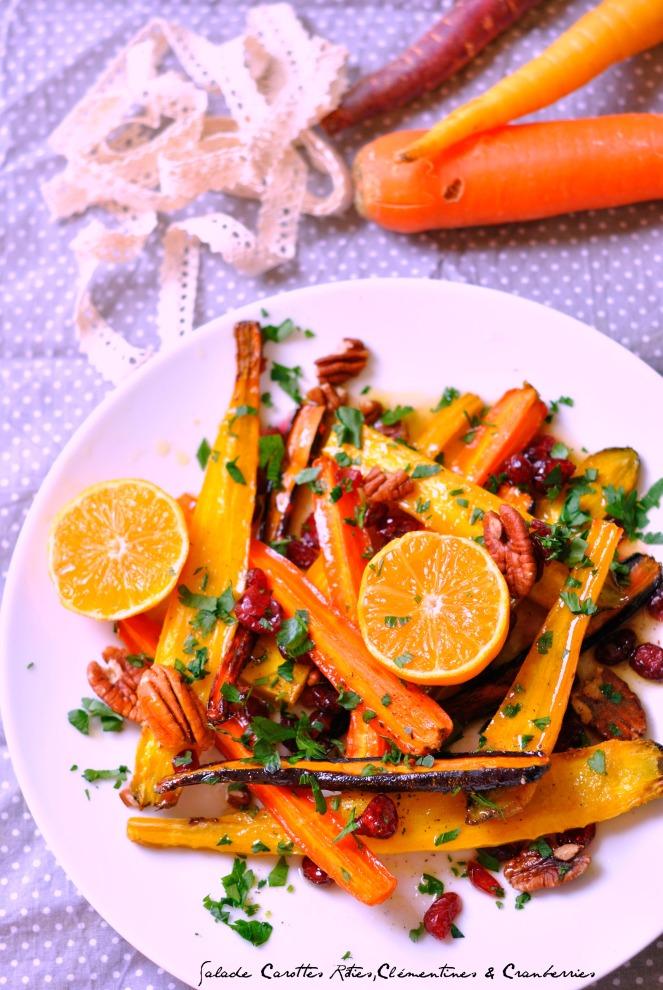 Salade Carottes Rôties,Clémentines & Cranberries2