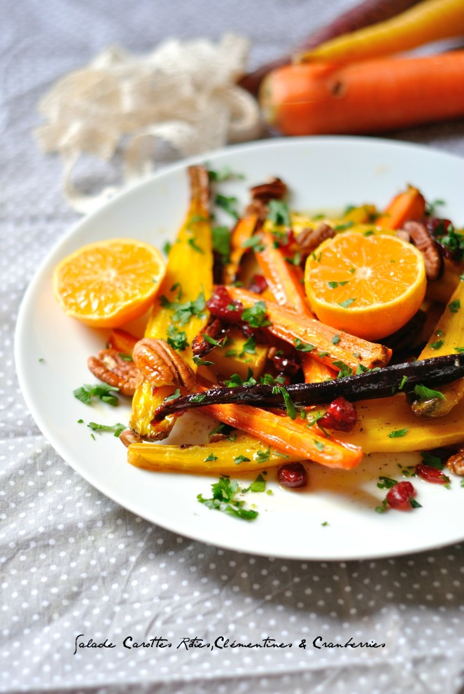 Salade Carottes Rôties,Clémentines & Cranberries4