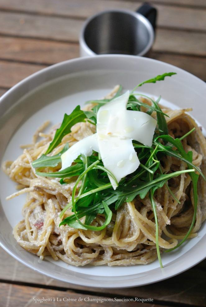 Spaghetti A La Crème de Champignons,Saucisson,Roquette 1