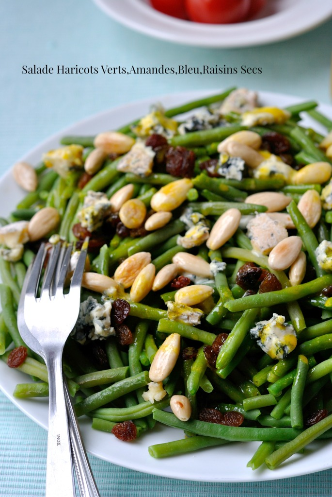 Salade Haricots Verts,Amandes,Bleu,Raisins Secs 3