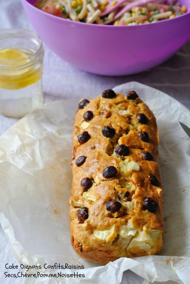 Cake Oignons Confits,Raisins Secs,Chèvre,Pomme,Noisettes 3