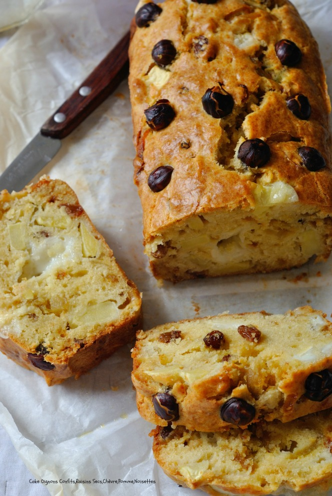 Cake Oignons Confits,Raisins Secs,Chèvre,Pomme,Noisettes 6
