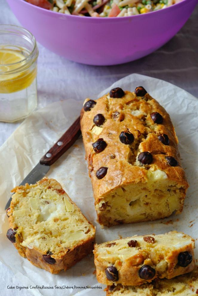 Cake Oignons Confits,Raisins Secs,Chèvre,Pomme,Noisettes 7