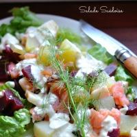 Salade Suédoise Betteraves,Pommes de terre,Pommes,Saumon Fumé