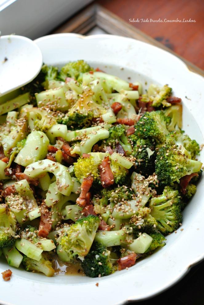 Salade Tiède Brocoli,Concombre,Lardons 1