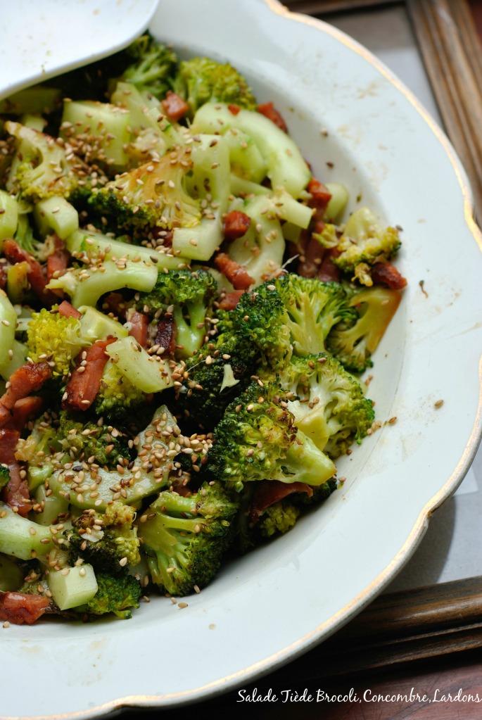 Salade Tiède Brocoli,Concombre,Lardons 2