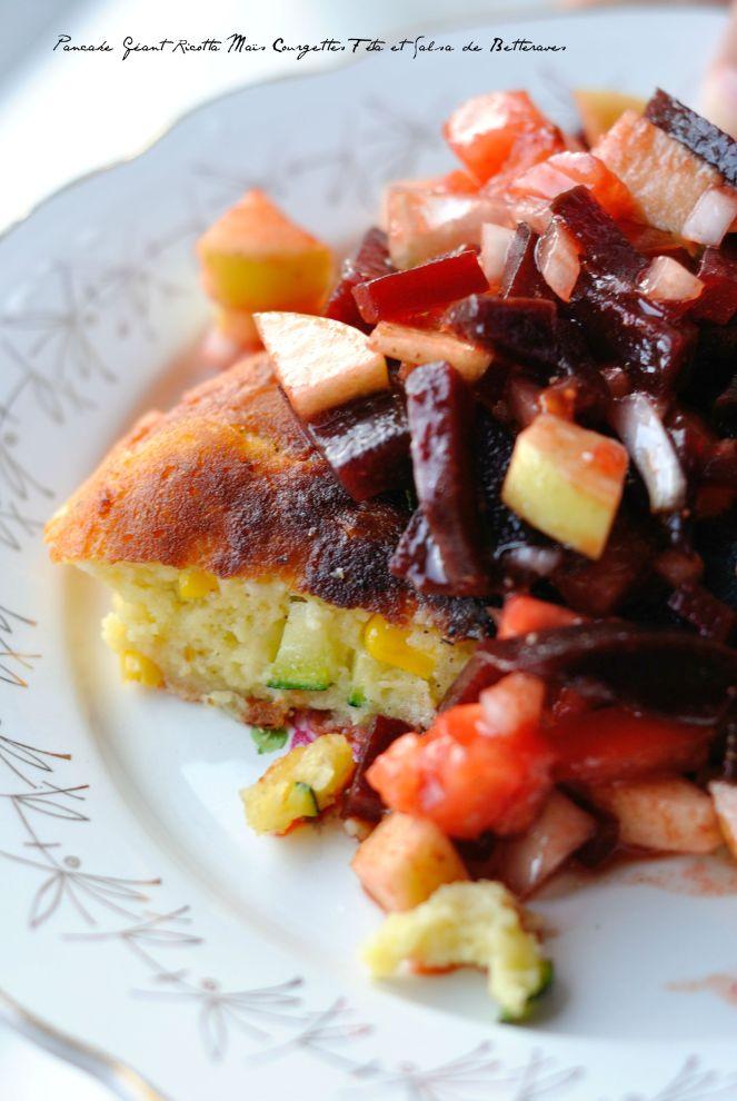 Pancake Géant RIcotta Maïs Courgettes Féta et Salsa de Betteraves 2