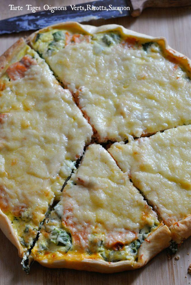 Tarte Tiges Oignons Verts,Ricotta,Saumon 2