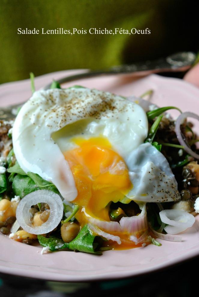 Salade Lentilles,Pois Chiche,Féta,Oeufs 3