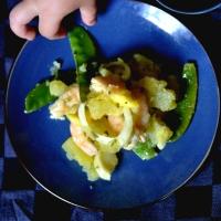 Salade Pommes de terre, Crevettes, Fenouil, Mangue et Pois Mange Tout